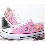 Pink Blue Pastel Color Ice-Creams Lace Up Flats Sneakers Shoes