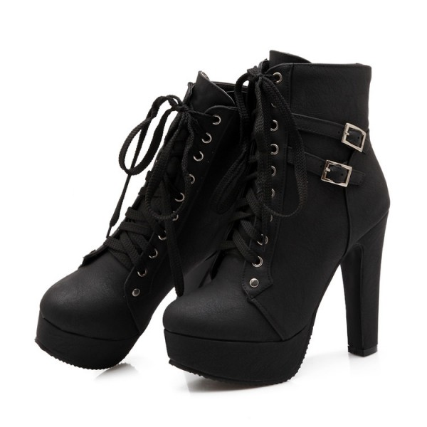 Black Punk Rock Lace Up High Top High Heels Platforms Boots Shoes