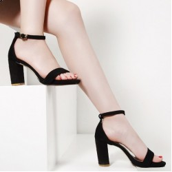 Black Suede Straps High Heels Sandals Shoes