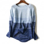 Blue Gradual Long Sleeves Knit Long Sleeves Sweater