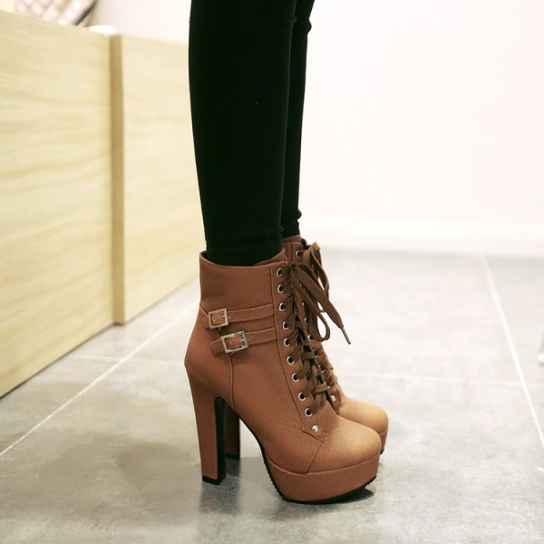 Brown Punk Rock Lace Up High Top High Heels Platforms Boots Shoes