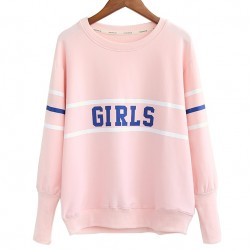 Pink Girl Old School Long Sleeve Sweatshirts Tops