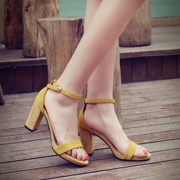 Yellow Suede Straps High Heels Sandals Shoes
