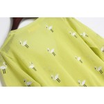 Green Lime Embroidery Cranes Brids Mid Sleeves Cropped Cardigan Outer Jacket