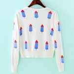 White Blue Popsicles Cropped Mid Long Sleeves Cardigan Outer Jacket
