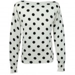 White Black Dots Polkadots Long Sleeves Cardigan Outer Jacket