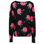 Black Pink Roses Vintage Long Sleeves Cardigan Outer Jacket