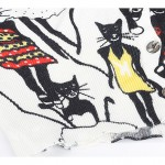 White Black Dancing Cats Long Sleeves Cardigan Outer Jacket