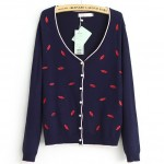 Blue Khaki Black Red Embroidery Hot Lips Long Sleeves Cardigan Outer Jacket
