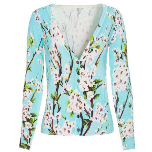 Blue Oriental White Blossoms Long Sleeves Cardigan Outer Jacket