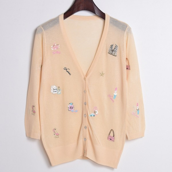 Pink Embroidery Handbags Perfumes Mid Sleeves Cropped Cardigan Outer Jacket