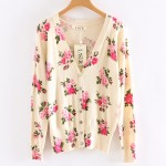 Pink Vintage Roses Flowers Long Sleeves Cardigan Outer Jacket