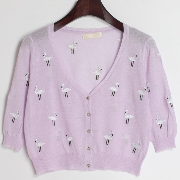 Purple Embroidery Cranes Brids Mid Sleeves Cropped Cardigan Outer Jacket