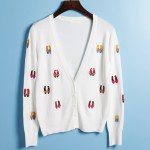 White Embroidery Ballet Flats Ballerina Long Sleeves Cardigan Outer Jacket