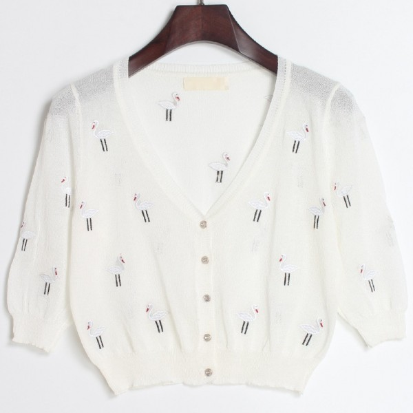 White Embroidery Cranes Brids Mid Sleeves Cropped Cardigan Outer Jacket