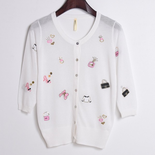 White Embroidery Handbags Perfumes Mid Sleeves Cropped Cardigan Outer Jacket