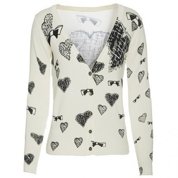 White Heart Ribbons Sketch Long Sleeves Cardigan Outer Jacket