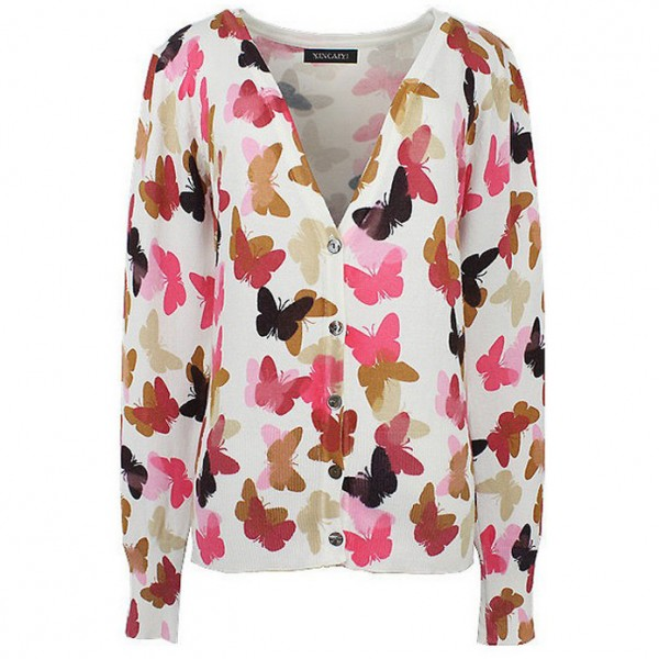 White Pink Butterfly Long Sleeves Cardigan Outer Jacket