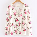 White Pink Vintage Roses Flowers Long Sleeves Cardigan Outer Jacket