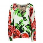 White Red Roses Florals Long Sleeves Cardigan Outer Jacket