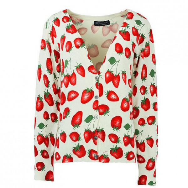 White Red Strawberry Long Sleeves Cardigan Outer Jacket