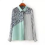 Blue White Stripes Vintage Retro Pattern Chiffon Long Sleeves Blouse Shirt