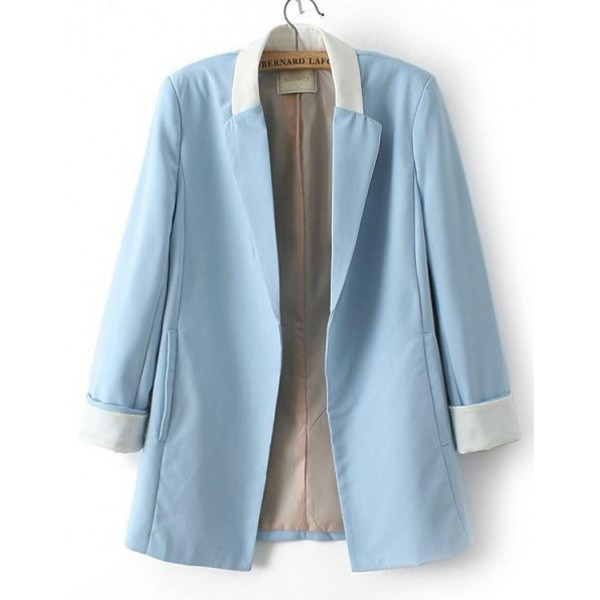 Blue Long Sleeves Womens Blazer Suit Jacket Coat