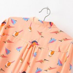 Peach Orange Birds Retro Pattern Chiffon Long Sleeves Blouse Shirt