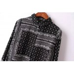 Black White Totem Retro Pattern Cotton Long Sleeves Blouse Shirt
