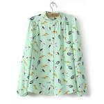 Green Birds Retro Pattern Chiffon Long Sleeves Blouse Shirt