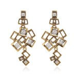 Gold Metal Square Diamante Geometric Earrings