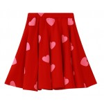 Red Blue Sweet Hearts A Line Skater Pleated Mini Skirt