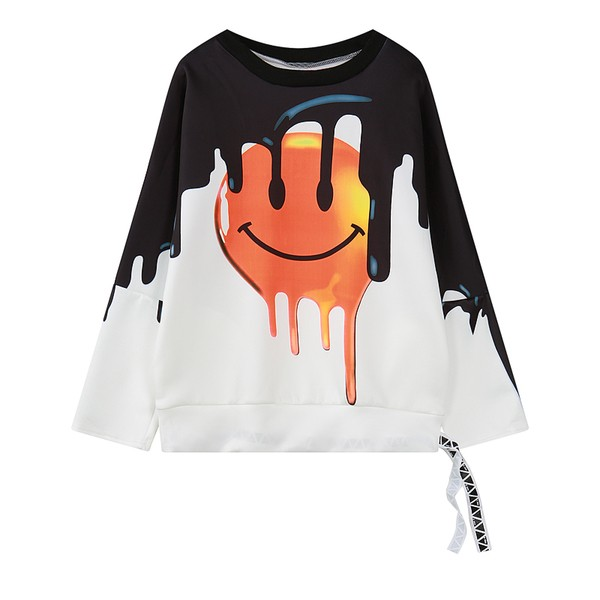 White Black Yellow Smile Happy Face Harajuku Funky Long Sleeve Sweatshirts Tops