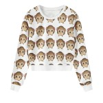 White Monkey Whatsapp Emoji Long Sleeve Sweatshirts Tops