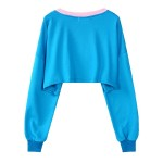 Red Blue Monster Clown Cartoon Cropped Long Sleeve Sweatshirts Tops