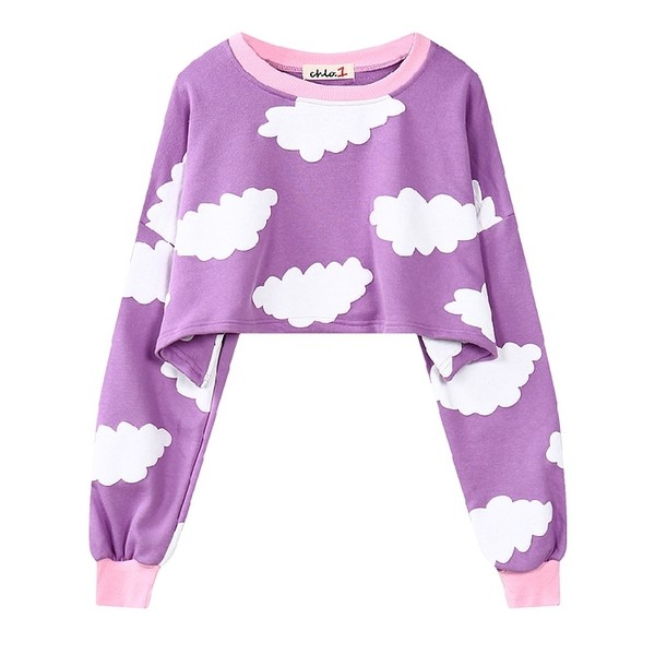 Purple Sky White Cloud Cartoon Cropped Long Sleeve Sweatshirts Tops