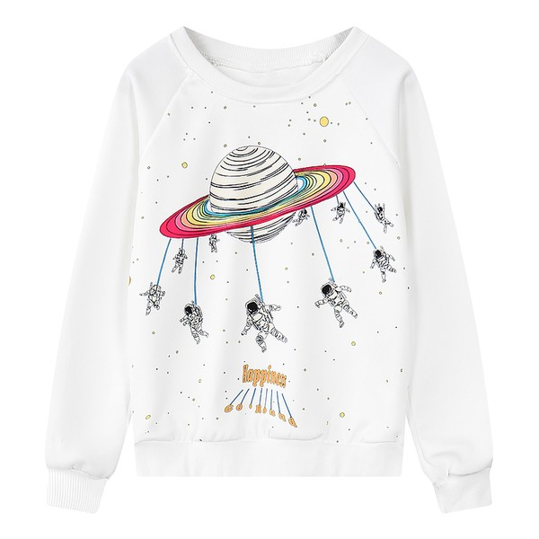 White Black Rainbow Planet Happiness Astronauts Long Sleeve Sweatshirts Tops