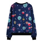 Blue Colorful Hot Air Balloons Harajuku Funky Long Sleeve Sweatshirts Tops