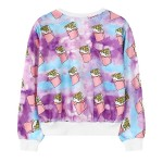 Purple Blue Rainbow Ice-Cream Bars Harajuku Funky Cropped Long Sleeve Sweatshirts Tops