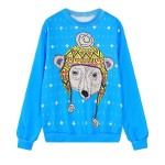Blue Polar Bear Harajuku Funky Long Sleeve Sweatshirts Tops