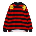 Red Black White Stripes Happy Face Harajuku Funky Long Sleeves Sweatshirt Top