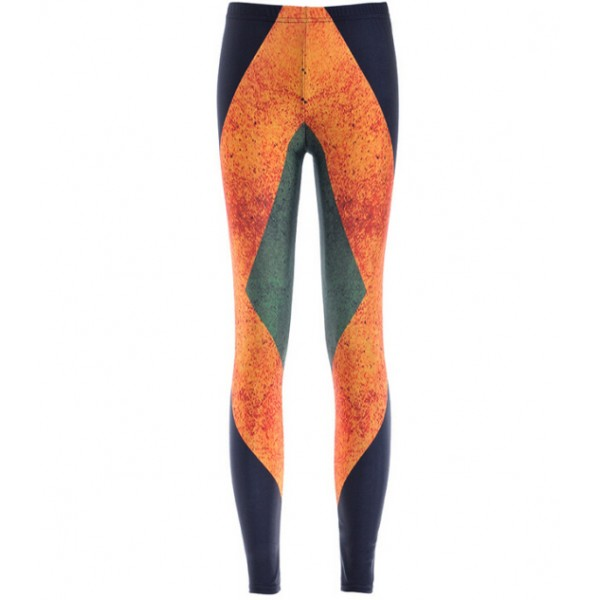 Black Orange Geometric Print Yoga Fitness Leggings Tights Pants