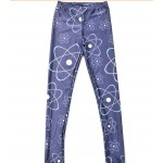 Navy Blue Atomic Locus Totem Print Yoga Fitness Leggings Tights Pants
