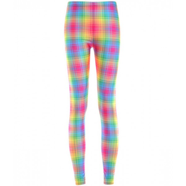 Blue Pink Plaid Checkers Print Yoga Fitness Leggings Tights Pants