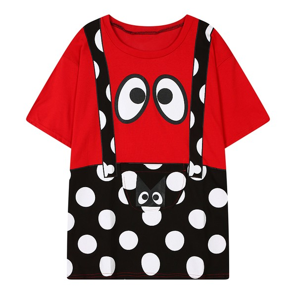 Red Pink Monster Polkadots Polka Dots Suspenders Harajuku Funky Short Sleeves T Shirt Top