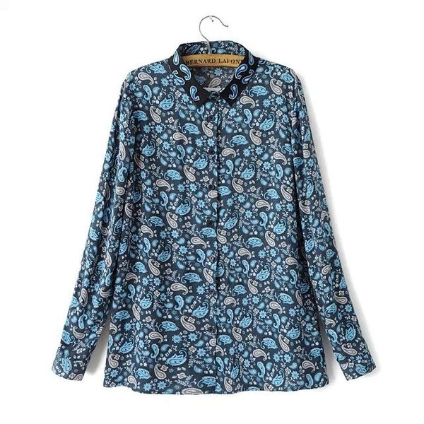 Blue Paisleys Vintage Retro Pattern Cotton Long Sleeves Blouse Shirt