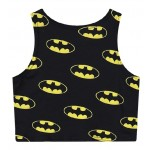 Black Batman Cropped Sleeveless T Shirt Cami Tank Top