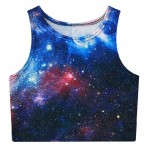 Blue Galaxy Stars Sleeveless T Shirt Cami Tank Top