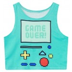 Blue Green Game Over Game Boy Sleeveless T Shirt Cami Tank Top