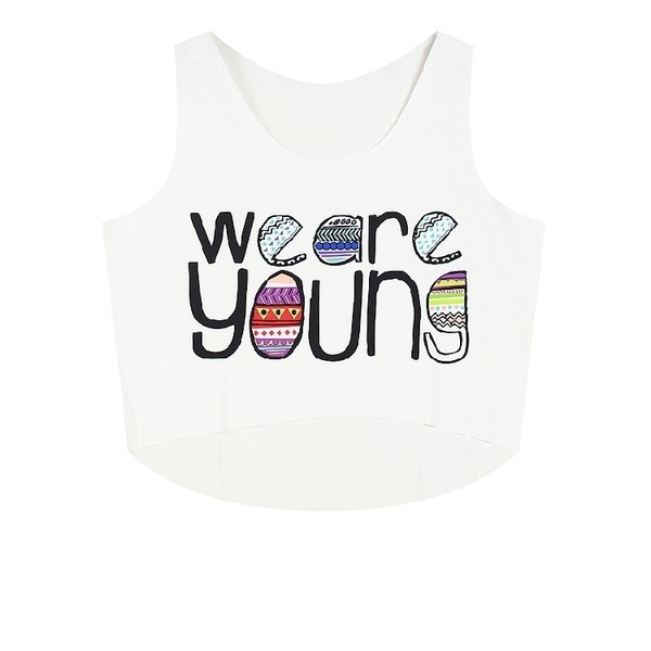White We Are Young Cropped Sleeveless T Shirt Cami Tank Top